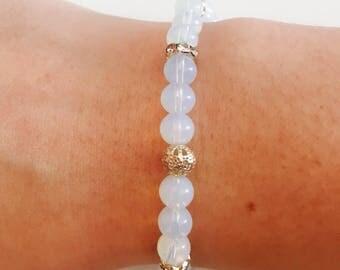 Bracelet woman opalite Pearl semi precious rhinestone / opalite gemstone beads summer bracelet bracelet / mother / lesptitskdo