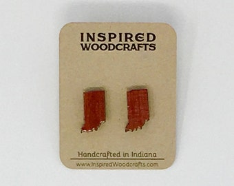 Indiana Wood Post Earrings - Solid Wood with Sterling Silver
