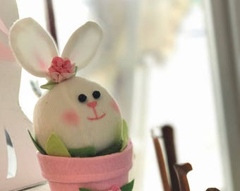 Easter Bunny Plush in a flower pot -  2 Pieces Set. Super Cute!