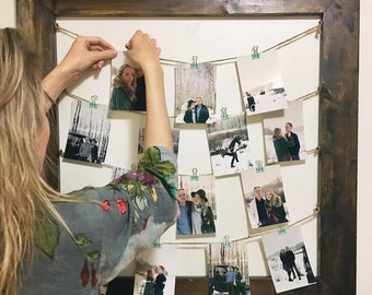 Rustic Clothespin Picture Frame / Photo Display - Wedding Display - Clothesline Collage - Includes line and small pins 32x32