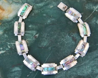 """RARE! Taxco """"NARVAEZ"""" Mexico Vintage 925 Sterling Silver Bracelet Abalone Shell Inlay"""