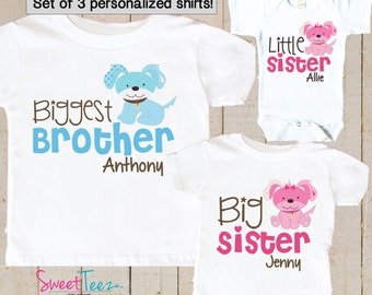 Biggest Brother Shirt SET of 3 Little Sister Big Sister Puppy Sibling Big Brother Shirts Personalized Dog Baby bodysuit SET