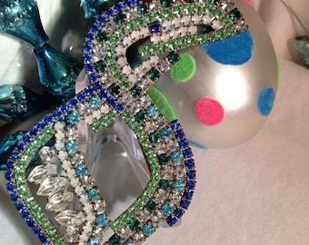 Vintage Figural Rhinestone Toucan Pin, Czech Crystal Toucan Brooch, Blue and Green Rhinestone figural Bird Pin, Estate Jewelry