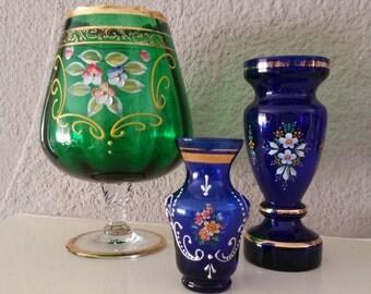 Vintage,Vases,Bohemian,Czechoslovakian,Art Glass,Venetian Glass,Cobalt Blue,Hand painted,Footed Green Vase,Collectible vases,Flower vases