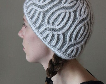 knitting pattern, knit hat pattern, knit pattern, beanie pattern, toque pattern, brioche hat, Brio Twist, knit hat, instant download pdf
