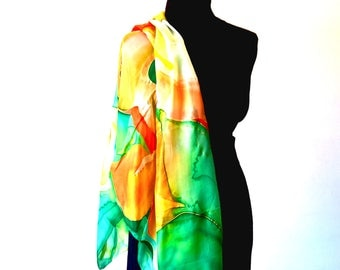 Stole in pure silk ; pongè 5 ; hand painted by the colors yellow green and red ; very Lightweight ;