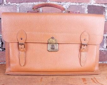 Vintage Tan Real Leather Briefcase Laptop Bag Man Bag