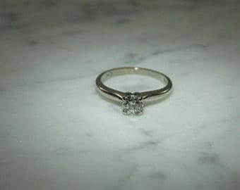 14K Gold Estate Diamond Solitaire Ring .45 Carat
