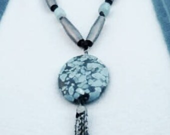 Turquoise and Pewter Necklace with Stone Pendant and Tassel