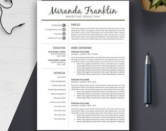 Professional Resume Template, Word CV Template, Cover Letter, Creative Modern Teacher Resume Design, 1, 2, 3 Page, A4 US Letter, MIRANDA
