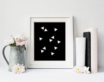 Geometric Print, Abstract geometric, Triangle Wall Art, Triangle Pattern Print, White Triangles, Scandinavian art, Home decor art, print art
