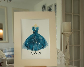Mounted Night Dress A3 Art Print, Illustration Print