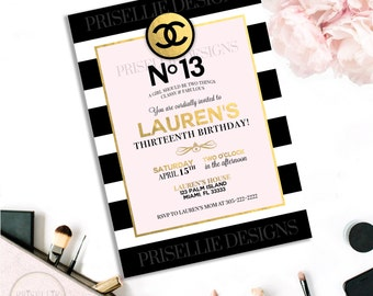 13th Birthday Invitation, Birthday Invitation, Teen Birthday Invitation, Classy and Fabulous Sleepover PJ Party Invitation