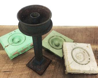 Rusty Blue Cast Iron Candlestick//Antique Cast Iron