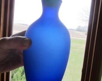 Satin Glass Bottle Cobalt Blue With Ground Stopper Plug Cap