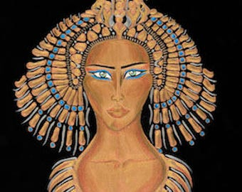 """Cleopatra Egyptian Goddess Painting - 20"""" x 16"""" on Stretched Canvas *on sale*"""