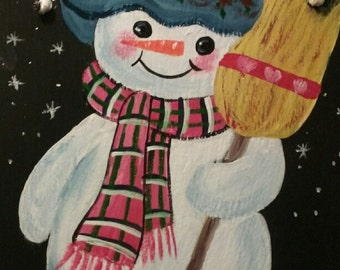 Snowman with Broom Blue or Burgundy Hat *Personalized No Charge*