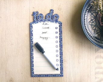 Armenian Ceramic Style (Blue and white) border white board with magnets | Erasable board | To do list white  board with an erasable marker.
