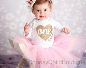 First Birthday Onesie®, 1st Birthday Outfit, 1st Birthday Girl, First Birthday, Birthday Onesie®, Pink Tutu, Personalized 1st birthday