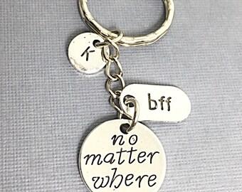 Personalized Best friend Keychain, Infinity Friend Charm, BFF Keychain, No Matter Where BFF, Initial Keychain, Custom, Monogram, Best Friend