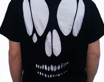 Skull Cutout T Shirt / Goth Cut Out Skull Tee