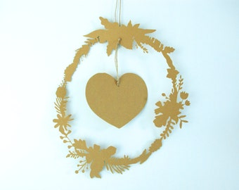 Mobile in paper cut - flowers and heart wreath