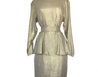 Vintage Gold Dress - 1980s Gold Silk Dress - Worth It Dress Code - Silk Dress