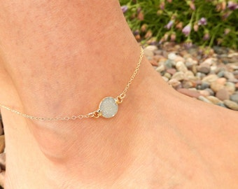 White Circle Druzy Anklet 24K Gold Raw Quartz Crystal Drusy Gold Filled Chain Beach Anklet Ankle Bracelet - Free Shipping Jewelry