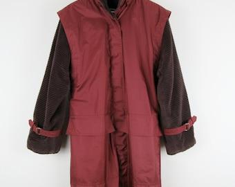 Vintage 80s Jacket / Maroon Burgundy Rain Coat Corduroy / Medium M Large L