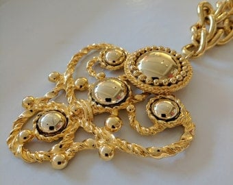 Vintage Escada Long Gold Statement Necklace. Gifts for her // Jewellery // Christmas // Stocking Filler // ES032