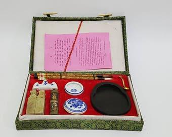 Old Chinese Calligraphy Box Set, Suzuribako, CecysAsianShop