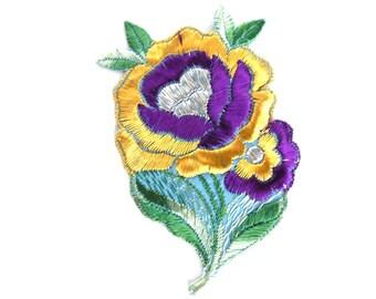 Applique, Flower applique, 1930s vintage embroidered applique. Vintage floral patch, sewing supply. #646GF0K17