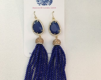 SALE | ROYAL BLUE Beaded Tassel Statement Earrings | gold, beaded, sapphire, party jewelry, dressy