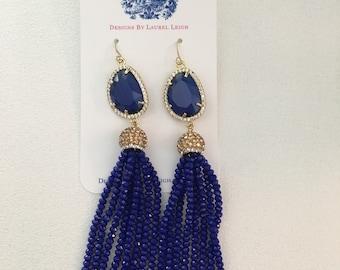 SALE | ROYAL BLUE Beaded Tassel Statement Earrings | gold, beaded, sapphire, party jewelry, dressy