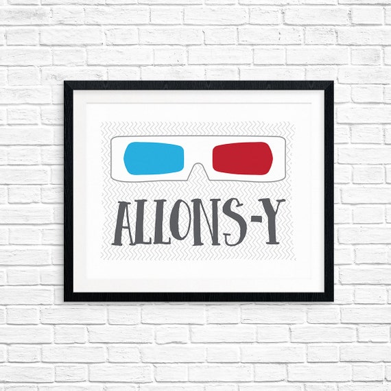 Printable Art, Allons-y, Pop Culture Quote, Doctor Who Print, Tenth Doctor, Typography, Digital Download Print, Quote Printables