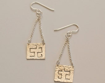 Sterling silver hammered drop earrings inspired by congo textile art - handmade