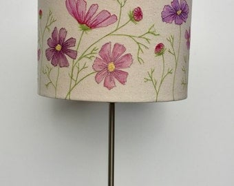Hand painted and free motion embroidered floral lampshade - 30cm diameter