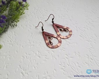 red gold copper patina dangle earrings