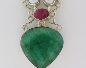 Vintage Pearl, Green And Magenta Ruby Pendant- Sterling Silver