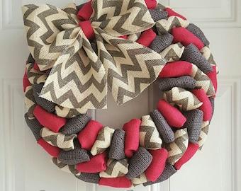 Spring burlap wreath, summer wreath, pink wreath, baby shower wreath, nursery wreath, nursery decor, bachelor party, breast cancer wreath