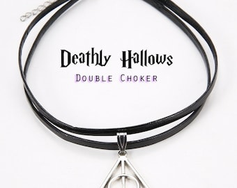 Harry Potter Deathly Hallows Double Choker Necklace Cage Choker Hogwarts Choker