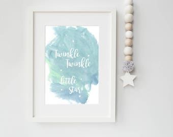 Twinkle Twinkle Little Star Nursery Art Print - Watercolor Style Twinkle Twinkle Art for Your Star and Moon Nursery Wall Decor, Playroom Art