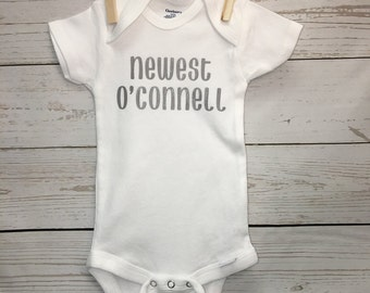 last name onesie, new baby onesie, newest addition onesie, announcement onesie, baby announcement, new baby, gender reveal onesie, baby name