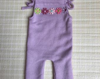 Upcycled newborn girls romper, upcycled purple romper, newborn purple romper, purple photo prop, summer romper, newborn photo prop