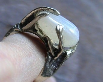 Ring cast silver, white Agate