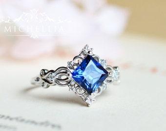 Princess Cut Sapphire Engagement Ring, Gold Lab Blue Sapphire Ring, 14K 18K  Solid Gold Sapphire Ring, Square Sapphire, September birthstone