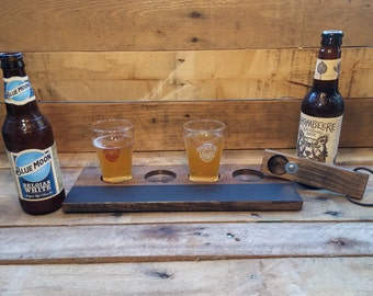 Beer Flight Tray, Wood Beer Caddy, Beer Flight Caddy, Reclaimed Wood Beer Flight Tray, Pallet Wood Beer Flight Caddy, Wood Beer Caddy