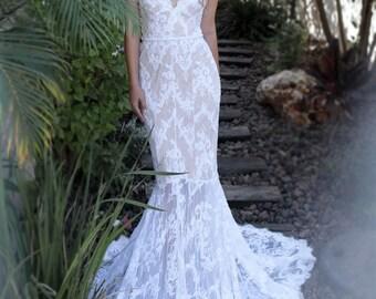 White wedding dress,wedding dress open back,lace wedding dress,wedding gown,Tight Wedding Dress,Ivory wedding dress