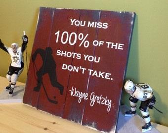 Hockey Room Decor, Hockey Sign, Hockey Wall Art Gift, Ice Hockey Wall Art, Wood Hockey Decor, Wayne Gretzky Quote