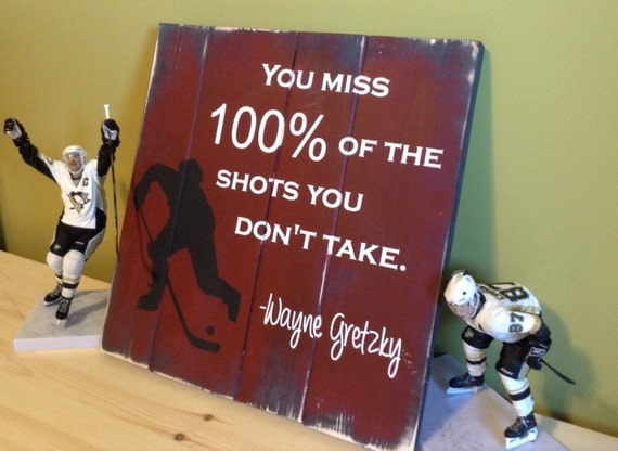 Hockey Room Decor, Hockey Sign, Hockey Wall Art Gift, Ice Hockey Wall Art, Wood Hockey Decor, Wayne Gretzky Quote